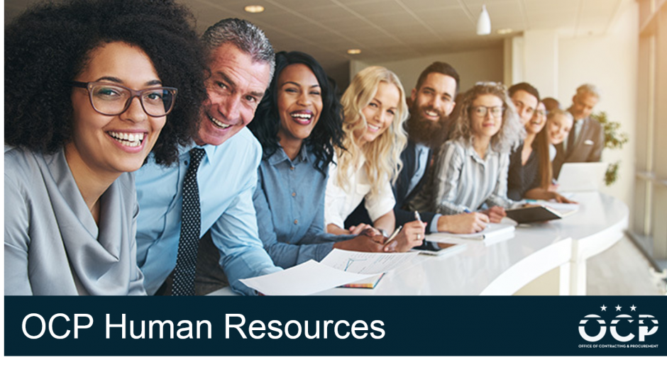 Image of human resource professionals with the text OCP Human Resources
